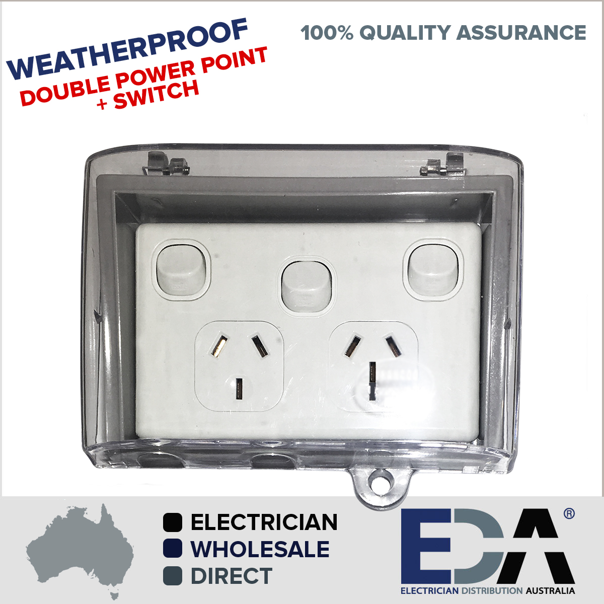 weatherproof double power point switch water enclosure lock