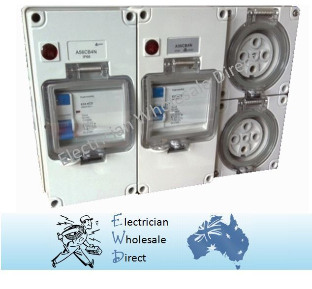 2 X 32 Amp 5 Pin Protected Outlet Three Phase Ip66 Rcd